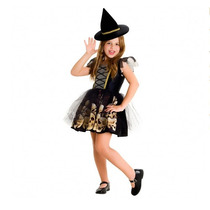 Disfraz Halloween Brujita Calaveras Con Sombrero