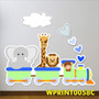 Adesivo Infantil Safari Trenzinho Girafa Leão Quarto Wpt58c