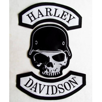 Calabera Casco Harley Davidson Juego Parches Grandes Espalda