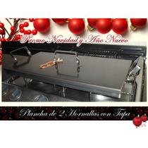 Plancha Bifera Con Tapa 2 Hornalla 50cm X 25cm Promo Navidad