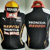 Camisa Repsol Hondamoto Gp Gola Polo Preta + Bone Kit