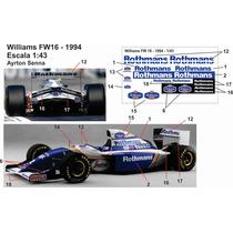 Decalque Para Williams Fw16 Ayrton Senna 1994 Escala 1:43