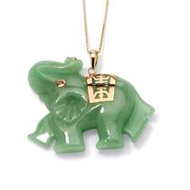 Dije Elefante De La Suerte Jade Verde Y Oro 14k