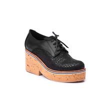 Zapato Natacha Cuero Reptil Negro Plataforma Corcho #3223