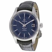 Reloj Omega Deville Automático Piel Negra Fondo Azul