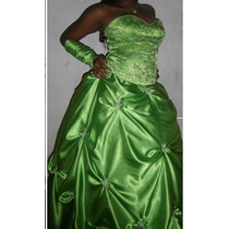 Vestido De 15 Años Verde Manzana Falda Larga Y Corta