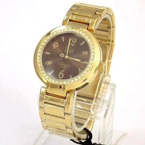 77ac3acfb33 Relógio Feminino Dumont Dourado Cristais Swarovski Sw85026r - R  254 ...
