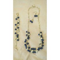 Juego De Collar, Pulsera Y Aretes, Perlas En Azul Y Blanco