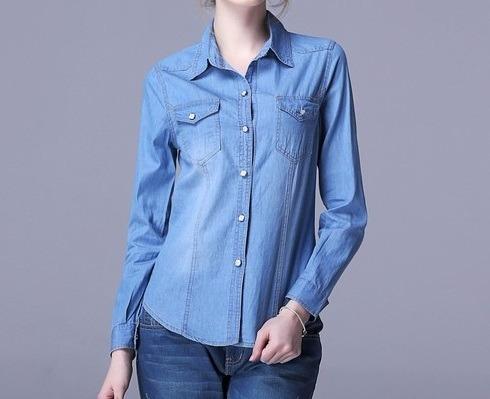 23e857221 Camisa Jeans Feminina Fashion Claro Preço Atacado - R  35