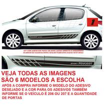 Adesivo Peugeot 206 207 Sw 2 4 P Acessório Kit Faixa Lateral