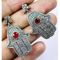 Brincos Turquia Prata 925 Mão De Fátima Rubi Topázios B568