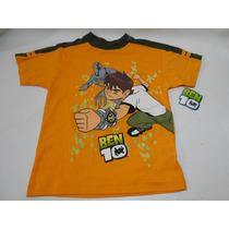 Camiseta Playera Naranja Ben 10 Talla 10 Niño Nueva