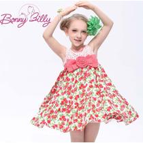 Vestido Infantil Festa Princesa Classico Importado Cereja