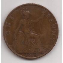 Gran Bretaña Antigua Moneda De Cobre 1 Penny Año 1915 !!!
