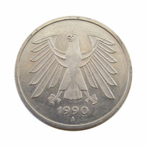 Moeda 5 Deutsche Mark 1990 J Alemanha M B C