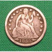 Estados Unidos One Dime 1853 Plata - Rara - Alto Valor Catál
