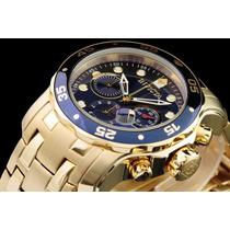 Relógio Invicta Swiss Scuba Diver Azul 0073 Banhado Ouro 18k