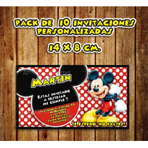 Pack 10 Invitaciones 14 X 8cm. Personalizadas Mickey Mouse