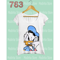 Pato Donald Bigode Blusa Camiseta Tshirt Moda Feminina