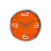 Reloj De Pared Redondo Cuadrante Naranja De 30 Cm