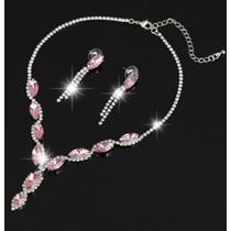Collar Y Aretes Elaborado Cristal Swarov Elements Rosa