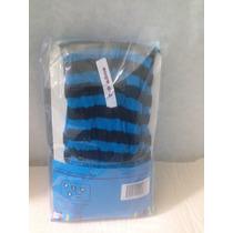 Mallas Delgadas Nylon Rayada Azul Con Negro Niña