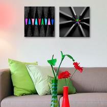 Cuadros Decorativos 2 Pz 30x30 Lapices De Colores