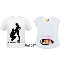 Kit Com 2 Camisetas Personalizadas Gestante Grávidas Bebê