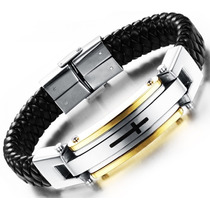 Bracelete Pulseira Masculina Couro Legítimo E Aço Inoxidável