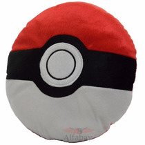 Almofada Travesseiro Pokémon Pokébola Clássica 36cm Redonda