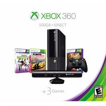 °° Consola Xbox 360 500 Gb Con Kinect Y 3 Juegos °° Bnkshop