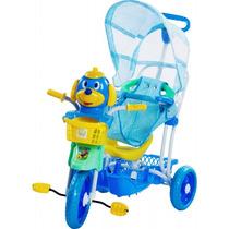 Carrinho Bebê Triciclo Capota Gangorra Música Luz Azul 9106