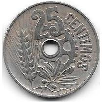 Moneda De España De 25 Centavos Año 1934 Republica Española