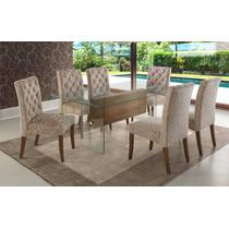 Conjunto Sala De Jantar Base De Mesa + 6 Cadeiras Luxo