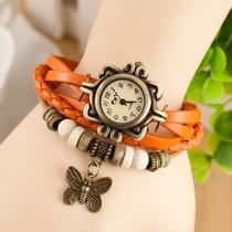 Reloj Pulsera Para Damas Malla De Cuero Color Naranja Dijes