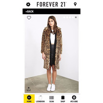 Forever 21 Abrigo Animal Print Imitación Piel Tallas S Y L