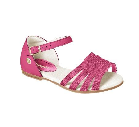 c1838fdf1 Sandália Rosa Pink Infantil Em Couro Com Brilho Pampili - R  75