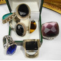 $ 3500 (x Los 7) Anillos En Plata Con Piedras Engarzadas