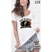 Camiseta T-shirt Bob Marley Fashion Feminino Blusa Baby Look