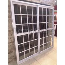 Puerta Ventana Balcon Aluminio Blanco Repartido 200x200 Cm