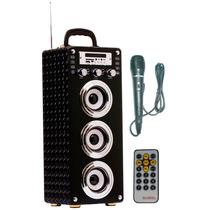 Caixa Som Amplificada Potente 80w Karaoke Bateria Fm Usb 111