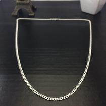 Corrente Grumet Masculina Prata Maciça 925 Fina 60 Cm