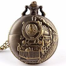 Reloj De Bolsillo Con Figura De Tren En Cuarzo Envio Gratis