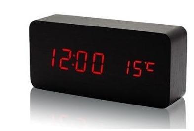 8cdcc827862 Relógio De Mesa Digital Sound Control Preto Led Vermelho - R  67