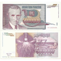 Billete Yugoslavia 5.000.000 Dinara Nikola Tesla 1993 P-121