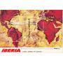 1968 Postal Mapa De Rutas Iberia Lineas Aereas De España