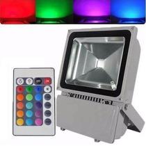 Refletor De Led 100w Colorido Rgb À Prova D