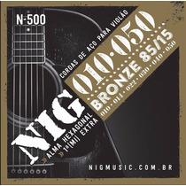 Cordas Para Violão Folk (aço) 010 Série Bronze Nig
