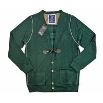 Cardigan Cuadrille Pique Verde Negro Sweater Davor Escote V
