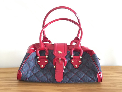 27d20988deb4 Bolsa Burberry Vintage Quilted Denim   Leather Bag Original -   5